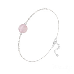 Bracelet Perle Ronde 8mm en Argent et Pierre Naturelle - Quartz Rose