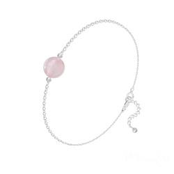 Bracelet en Pierre Naturelle Bracelet Perle Ronde 8mm en Argent et Pierre Naturelle - Quartz Rose