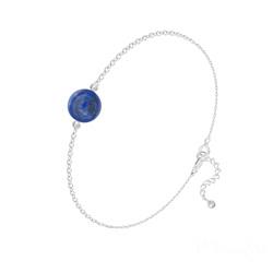 Bracelet Perle Ronde 8mm en Argent et Pierre Naturelle - Lapis Lazuli