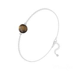 Bracelet Perle Ronde 8mm en Argent et Pierre Naturelle - Oeil de Tigre