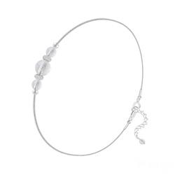 Bracelet en Pierre Naturelle Bracelet 3 Perles Rondes 4mm/6mm en Argent et Pierres Naturelles - Cristal de Roche