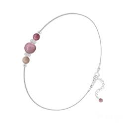 Bracelet en Pierre Naturelle Bracelet 3 Perles Rondes 4mm/6mm en Argent et Pierres Naturelles - Rhodonite