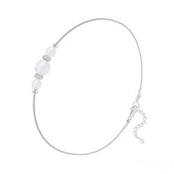 Bracelet en Pierre Naturelle Bracelet 3 Perles Rondes 4mm/6mm en Argent et Pierres Naturelles - Jade Blanc