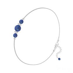 Bracelet en Pierre Naturelle Bracelet 3 Perles Rondes 4mm/6mm en Argent et Pierres Naturelles - Lapis Lazuli