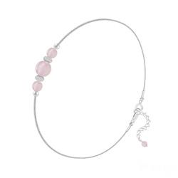 Bracelet en Pierre Naturelle Bracelet 3 Perles Rondes 4mm/6mm en Argent et Pierres Naturelles - Quartz Rose