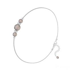 Bracelet en Pierre Naturelle Bracelet 3 Perles Rondes 4mm/6mm en Argent et Pierres Naturelles - Agate Grise