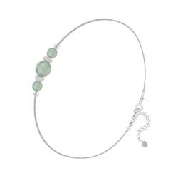 Bracelet en Pierre Naturelle Bracelet 3 Perles Rondes 4mm/6mm en Argent et Pierres Naturelles - Aventurine