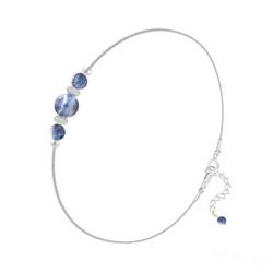 Bracelet en Pierre Naturelle Bracelet 3 Perles Rondes 4mm/6mm en Argent et Pierres Naturelles - Sodalite