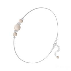 Bracelet en Pierre Naturelle Bracelet 3 Perles Rondes 4mm/6mm en Argent et Pierres Naturelles - Pierre de Rivière