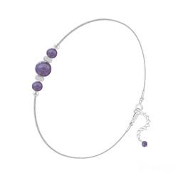 Bracelet 3 Perles Rondes 4mm/6mm en Argent et Pierres Naturelles - Améthyste