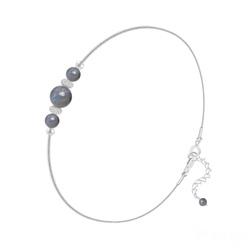 Bracelet en Pierre Naturelle Bracelet 3 Perles Rondes 4mm/6mm en Argent et Pierres Naturelles - Labradorite
