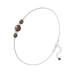 Bracelet en Pierre Naturelle Bracelet 3 Perles Rondes 4mm/6mm en Argent et Pierres Naturelles - Oeil de Tigre