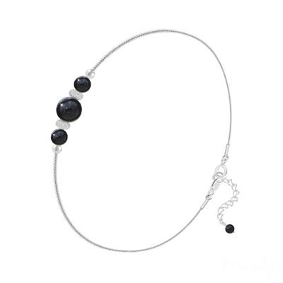 Bracelet en Pierre Naturelle Bracelet 3 Perles Rondes 4mm/6mm en Argent et Pierres Naturelles - Onyx