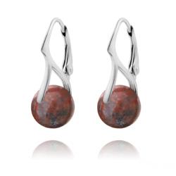 Boucles d'Oreilles en Pierres Naturelles 10mm sur Dormeuses en Argent - Jaspe Rouge
