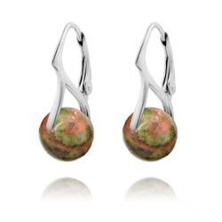 Boucles d'Oreilles en Pierres Naturelles 10mm sur Dormeuses en Argent - Unakite