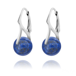 Boucles d'Oreilles en Pierres Naturelles 10mm sur Dormeuses en Argent - Lapis Lazuli