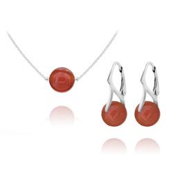 Parure en Argent et Pierres Naturelles 10mm - Agate Rouge