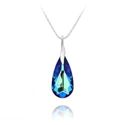 Collier Larme 24mm en Argent et Cristal Bleu Bermude