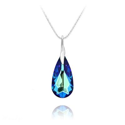 Collier en Cristal et Argent Collier Larme 24mm en Argent et Cristal Bleu Bermude