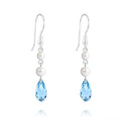 Boucles d'Oreilles Briolette 11mm V2 en Argent et Cristal Bleu