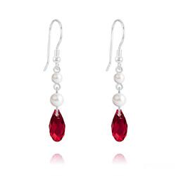 Boucles d'Oreilles Briolette 11mm V2 en Argent et Cristal Rouge Siam