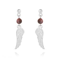 Boucles d'Oreilles Aile d'Ange en Argent et Pierres Naturelles 4mm - Jaspe Rouge