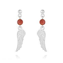 Boucles d'Oreilles Aile d'Ange en Argent et Pierres Naturelles 4mm - Agate Rouge
