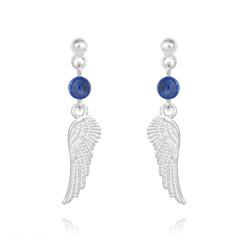 Boucles d'Oreilles Aile d'Ange en Argent et Pierres Naturelles 4mm - Lapis Lazuli