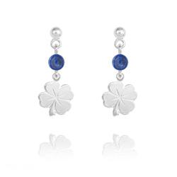 Boucles d'Oreilles Trèfle à 4 Feuilles en Argent et Pierres Naturelles 4mm - Lapis Lazuli