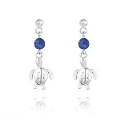 Boucles d'Oreilles Tortue en Argent et Pierres Naturelles 4mm - Lapis Lazuli