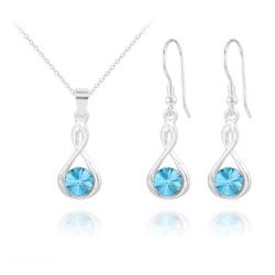 Parure Infinity Rivoli en Argent et Cristal Bleu