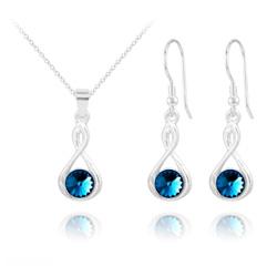 Parure en Cristal et Argent Parure Infinity Rivoli en Argent et Cristal Bleu Bermude