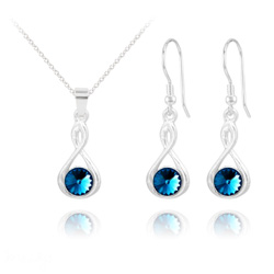 Parure Infinity Rivoli en Argent et Cristal Bleu Bermude
