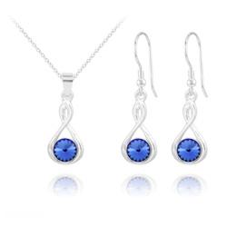 Parure Infinity Rivoli en Argent et Cristal Bleu Saphir