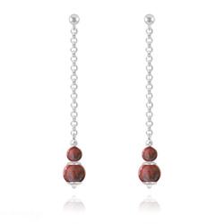 Boucles d'Oreilles Pendantes Pierres Naturelles 4mm/6mm - Jaspe Rouge