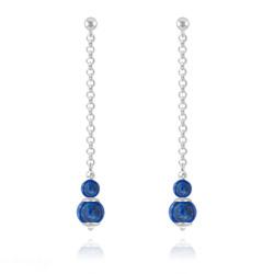 Boucles d'Oreilles Pendantes Pierres Naturelles 4mm/6mm - Lapis Lazuli