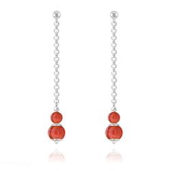 Boucles d'Oreilles Pendantes Pierres Naturelles 4mm/6mm - Agate Rouge