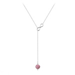 Grossiste Collier Cravate Infini en Argent et Pierre Naturelle 8mm - Rhodonite