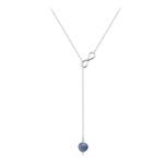 Grossiste Collier Cravate Infini en Argent et Pierre Naturelle 8mm - Sodalite