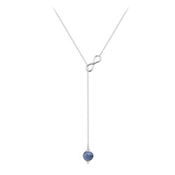 Collier Cravate Infini en Argent et Pierre Naturelle 8mm - Sodalite