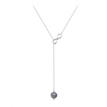 Grossiste Collier Cravate Infini en Argent et Pierre Naturelle 8mm - Labradorite