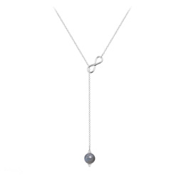 Collier Cravate Infini en Argent et Pierre Naturelle 8mm - Labradorite