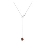 Grossiste Collier Cravate Infini en Argent et Pierre Naturelle 8mm - Jaspe Rouge