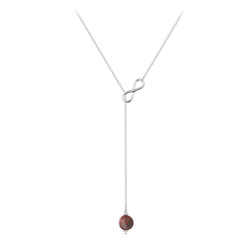 Collier Cravate Infini en Argent et Pierre Naturelle 8mm - Jaspe Rouge