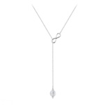 Grossiste Collier Cravate Infini en Argent et Pierre Naturelle 8mm - Cristal de Roche