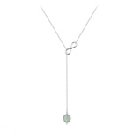 Grossiste Collier Cravate Infini en Argent et Pierre Naturelle 8mm - Aventurine
