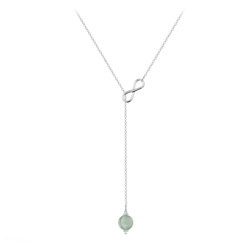 Collier Cravate Infini en Argent et Pierre Naturelle 8mm - Aventurine
