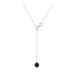 Grossiste Collier Cravate Infini en Argent et Pierre Naturelle 8mm - Onyx