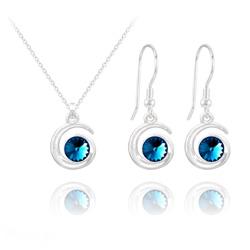 Parure Spirale Rivoli en Argent et Cristal Bleu Bermude