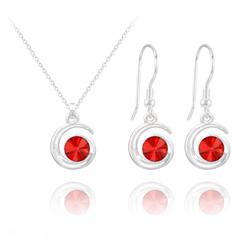 Parure Spirale Rivoli en Argent et Cristal Rouge Light Siam